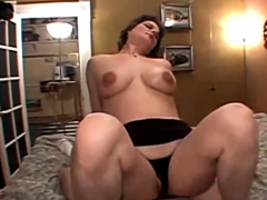 short haired busty milf pounded in bed