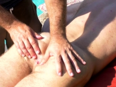 Hairy Bodybuilder Outdoor With Massage