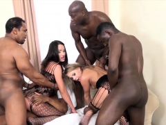 blonde and brunette double penetration with 4 blacks