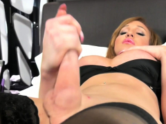 Inked blonde trap ass fucks herself with dildo