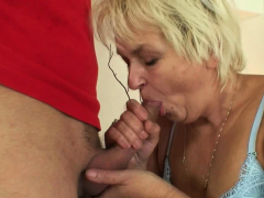 Very Old Blonde Grandma Swallows Two Young Cocks