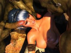 3d elf warrior slut gangbanged by orcs!