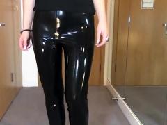 sweet latex liquid leggings with red stilettos fetish