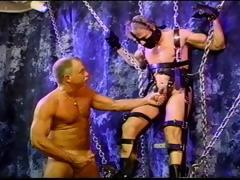 Blond Muscle Stud Is Suspended As He Gets His Balls Bashed