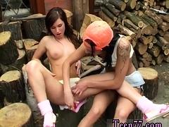 Lesbians sucking breast milk Cutting wood and munching