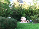 Old busty blonde mother inlaw rides his cock outside