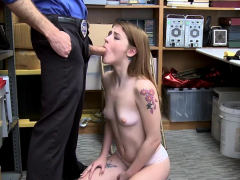 Perv Officer Fucks A Petite Teen Thiefs Throat And Pussy