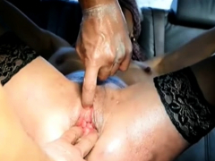 Fisting her ruined holes in bondage