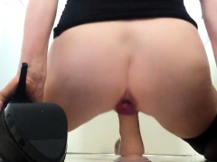 Squirting over my dildo from behind as I ride it balls deep