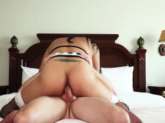 Busty Asian shemale felt a strangers big cock in a ass
