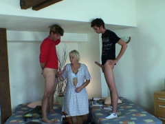 two-teen-boys-fuck-very-old-blonde-cleaning-granny