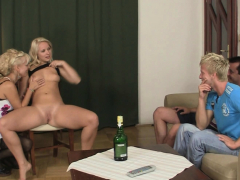 His shaved pussy blonde gf have fun with his olds