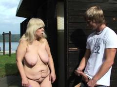 blonde-old-grandma-rides-cock-on-public