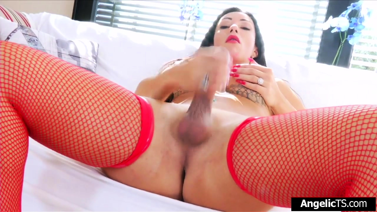 Busty stunner shemale Gloria Voguel jerks off and fucks toy