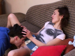 Playsome teen Nina feels chopper in slit