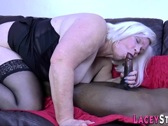 British Grandmother In Interracial Threesome