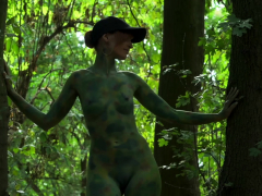 Invisible nakedness in the city. Body Art with public nude