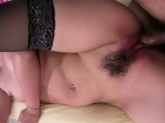 Oriental babe gets her hirsute twat drilled ferociously