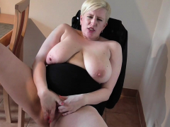 blonde milf strips and masturbates with need
