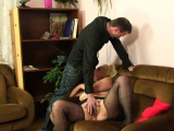Hairy blonde mother-in-law rides his cock after photosession