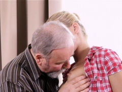 Pleasant young sweetie is fascinated to ride old hard weenie