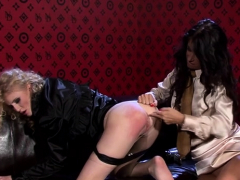 Lesbo gets panties stuffed in throat and pussy rubbed