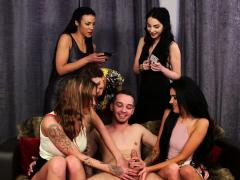 Cfnm sluts give group handjob