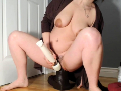 colossal-bbc-dildo-wrecks-her-loose-pussy