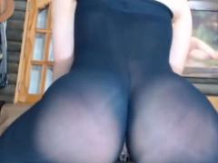Nylon pantyhose lovers fucking through nylon tight