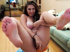 sexy solo brunette intense with dildo in bedroom Hot