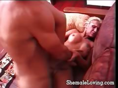 Blonde Shemale Gets Laid With A Guy
