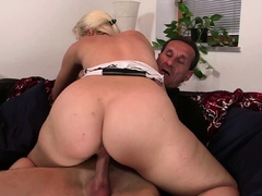Blonde Girl Riding Father In Law Cock After Cunnilingus