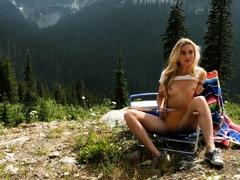 monster booty blonde milf model anna katarina outdoor striptease Striptease