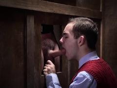 Mature priest makes horny twink suck his stiff cock