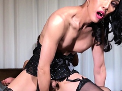 Smalltits classy shemale gets anally drilled
