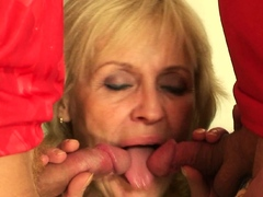 Very old blonde grandmother swallows two cocks