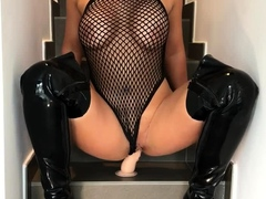 busty-blonde-in-black-lingerie-masturbation