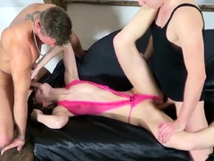 Two Guys Tricked Skinny German Teen Jenny in Rough Threesome