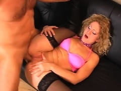 mature bitch in pink stockings getting a hard backdoor pounding