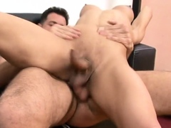 Busty transgendered pounded from behind