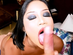 Bubble butt Asian ladyboy with big tits too anal fucked