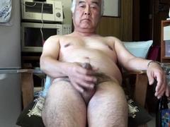 Japanese old man masturbation Ejaculation in the kitchen