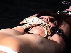 Nasty diva slowly getting naked to turn him on