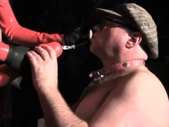Hawt female domination with tied up villein and suffocation