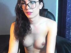 Big Shaft TGirl Jerking Off in Stockings on Webcam Part 11