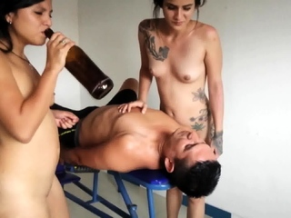 proll Latinas spit on slave with beer