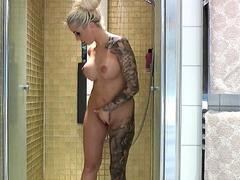German Blonde Teen Tight Tini Shower Fun and Talk with You