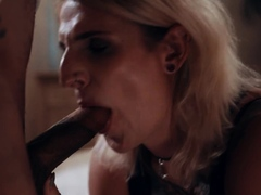Shemale blonde gets licked and analed by her fat stepbro
