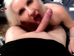 Small breasted blondie sucking a hard shaft
