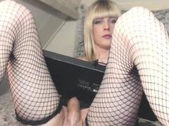 Damn Hot Big Pecker HeShe in Stockings on WebCam Part 1